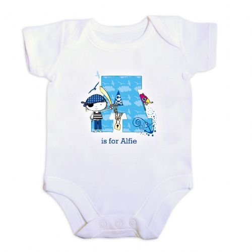 Personalised Pirate Letter Baby Vest